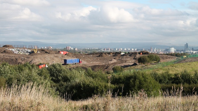 SALFORD, ENG- OCTOBER 10 - View of active landfill in Clifton LIVIA, 10 October 2013 in Salford, England.